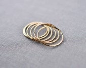 Textured Solid 14K Gold Skinny Stacking Rings