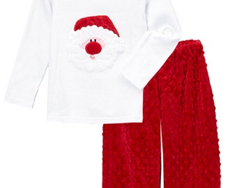Little Boy's Applique Christmas Santa Face Tee and Minky Pant Set for Baby, Infant, Toddlers, and Boys.