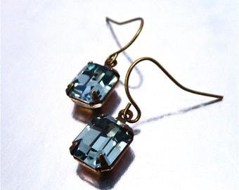 Petite Indian Sapphire Blue Earrings Swarovski Bridesmaid Bridal Retro Crystal Rhinestone