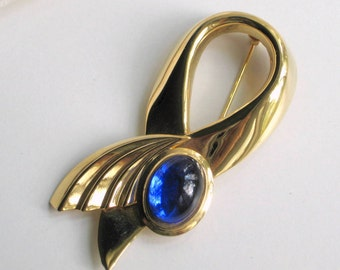 80s Brooch Pin Goldtone Ribbon Large Blue Cabochon Vintage 1980s Costume Jewelry