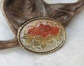 Ladies Western Belt Buckle, Vintage Three Tone Metal Buckle, Silver Gold and Copper Plating