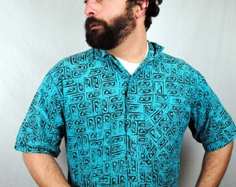 Vintage 1980s Geometric Surfer Button Up Shirt