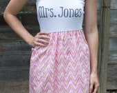 Lime and Pink chevron MRS. dress