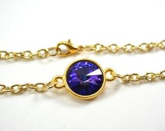 Gold Chain Bracelet, Purple Blue Crystal Bracelet, Gold Multi Color