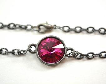 Dark Pink Bracelet Crystal Chain Bracelet Dark Silver Pink Crystal Bracelet Swarovski Gunmetal Chain Bracelet