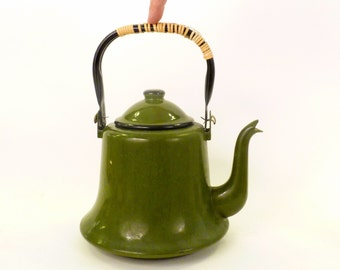 Save for Guillermo Vintage olive Green / Black Enamel Teapot /Japan Japanese  Black Handle Spout Tea camping kettle gardening pot  - 9x7 in.