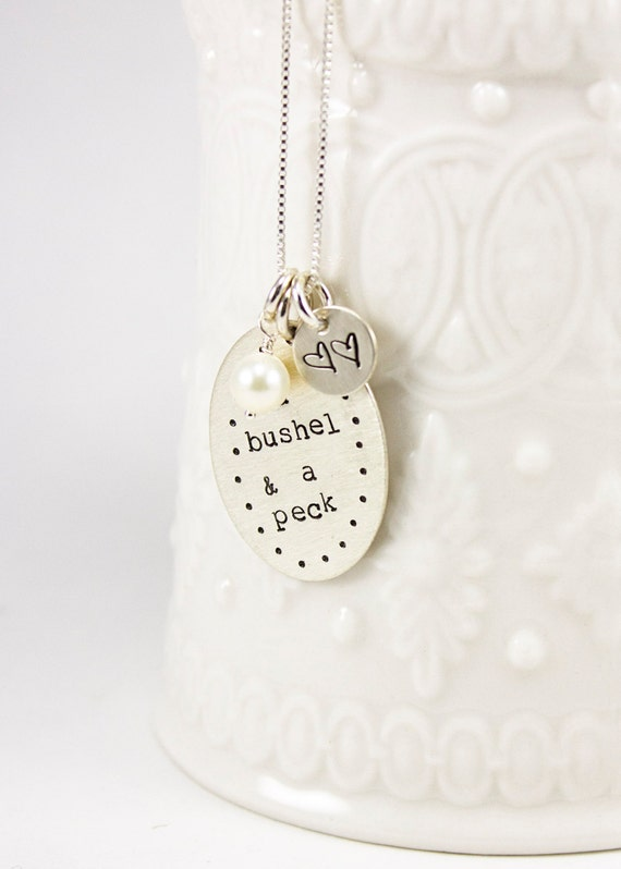 I love you a Bushel and a Peck Hand Stamped Sterling silver necklace for a mommy, mom, mother or grandma with hearts