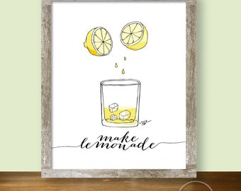 Make Lemonade Sketch Illustration - 8x10 Kitchen Printable
