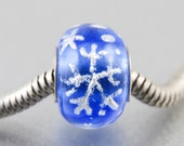 Blue Snowflakes Big Hole Bead for European Charm Bracelets, Winter Jewelry, Handmade Lampwork