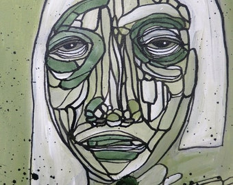 Abstract Portrait Painting Woman Face Art Green Modern Contemporary Artwork