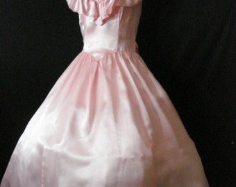 Pink Satin Vintage Gunny Sax Full Prom Party Dress Crinoline Ruffles Bow XS S 5