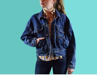 Vintage Blue Jean Jacket 80s Denim Jacket Acid Wash Denim Jacket JORDACHE Cropped Dark Denim Blue Jean Jacket S / M