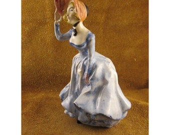 Victorian Lady in Blue Ceramic Vintage Figurine
