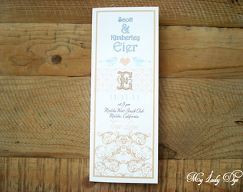 100 Chic Vintage Love Bird Wedding Programs - Scroll, Love Bird, Heart - By My Lady Dye