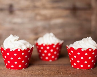 12 Red Cupcake Wrappers - Red Cupcake Decorations - Paper Cupcake Wrappers - Cupcake Supplies - Cupcake Party - Cupcake Wrap