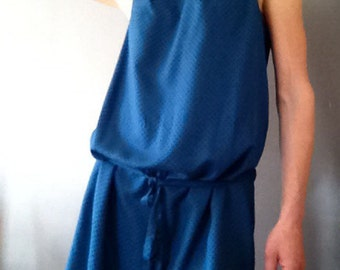 "Tank Dress ""SUN"" dots plumetis in blue indigo fine viscose - Free Shipping"