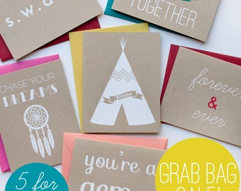 Grab Bag Sale! - Discount - screen printed cards - any occasion - love - friendship - encouragement - new home - valentine - birthday