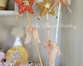 Twinkle Twinkle. Three Glass Glittered Star Wand Decorations