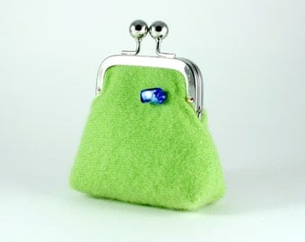 Apple green cashmere change purse...periwinkle glass Murano bead...Swarovski crystal frame detail...ecofriendly fabrics...luxury gift idea