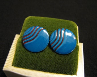 Vintage Round Wavy Teal Aqua Blue Pierced Earrings