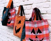 Personalized INITIALS For Halloween Trick or Treat Bag / Upcycled Jack-O-Lantern Inspired Happy Halloween Tote - Eco Friendly Kids Fall Fun