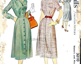 Vintage 1950s Shirtdress Pattern Button Front Patch Pocket Cuffed Sleeves 1954 McCalls 3010 Bust 32