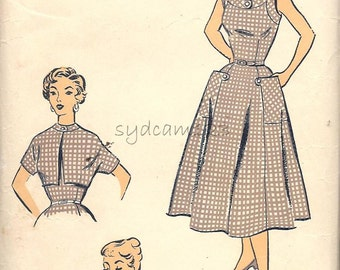 Vintage 1950s Sundress Pattern Tab Button Neckband and Pockets Cropped Jacket Advance 1592 Bust 33