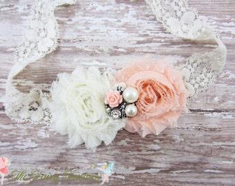 Ivory and Peach Flower Headband, Chiffon Flowers w/ Pearl & Crystal Center Lace Headband or Hair Clip, Newborn Baby Child Girls Headband