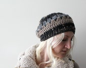 Crochet Beret . Crochet beanie . crochet slouchy hat . crochet hat . womens crochet beanie . slouchy beanie . black knitted beanie