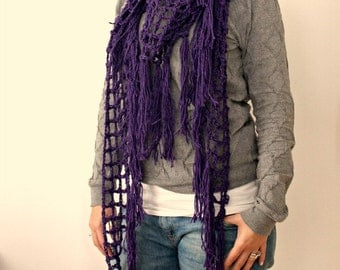 Fishnet Shawl-Triangle Shawl-triangle shawl fishnet scarf linen wool fishnet shawl crochet shawl scarf spring summer shawl crochet purple