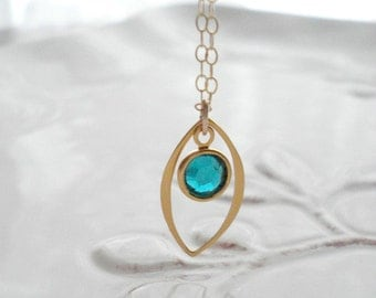 Gold Emerald Necklace Gold Marquise Necklace With Emerald, Modern Everyday Jewelry Gold Pendant May Birthstone Swarovski Crystal Drop