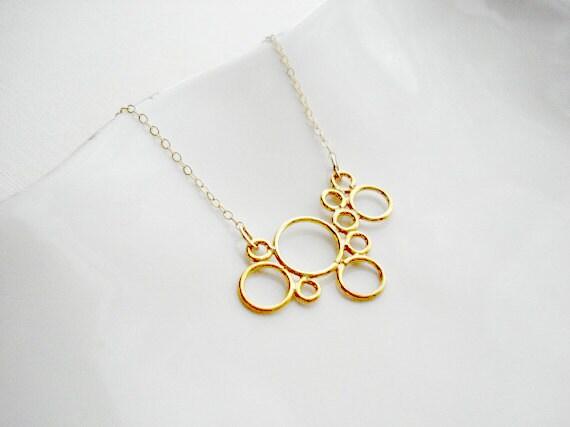 Gold Bubble Necklace. Modern, Minimalist. Geometric Jewelry, Simple, Yellow
