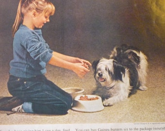 Vintage Ad - Gaines Burgers Dog Food - Ad from 1960s - Original ad - best dog food money can buy