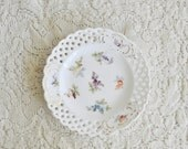 Antique Porcelain Dresden Tiny Hand Painted Plate / Saucer /  Lace / Austria