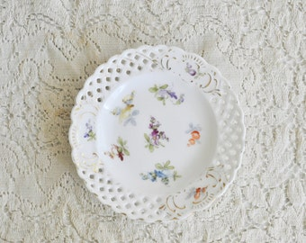 Antique Porcelain Hand Painted Dresden Perforated Lace Edging Floral Austrian Small Plate, Feminine Decor, Gold and White