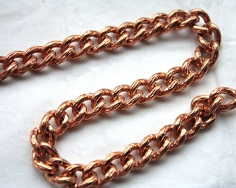 3 Feet Vintage 1960's Rosy Brass Thick Textured Curb Chain // 8mm x 11mm