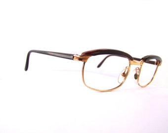 1950s Womens Eyeglasses // 50s Vintage  Frames // Gold Filled // Brown and Gold //  model: Psyche // Hazco