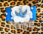 Rockabilly Blue Swallow & White Hydrangea Dot Hair Comb - Retro - 50s
