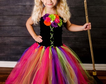 SALE - Witch Tutu Costume for Girls' Halloween Costume or October Birthday Party - Neon Colors Witch Dress - Handmade Halloween Costumes