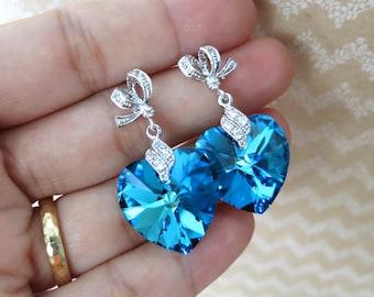 Zana - Bermuda Blue Swarovski Heart Crystal Earrings - something blue wedding, gifts for her, bridal brides bridesmaid earrings