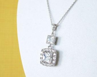Gilda -  Luxe Cubic Zirconia Square Drop necklace, Halo style crystal necklace, Silver bridesmaid necklace, brides bridal wedding jewelry