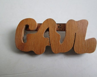 Vintage Wood Gail, Brooch, Pin.  1950's, 1960's