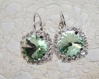 Mint Green Earrings,Mint Wedding Jewelry,Green Crystal Earrings,Bridal Mint Earrings,Swarovski Earrings, Erinite Earring Statement Earrings