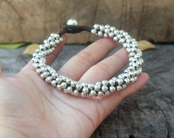 All Silver Ball Anklet