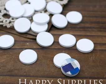 20Pcs 15mm (01) Blank Round White Color Wood Cut Cabochon