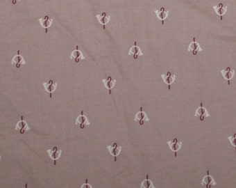 Vintage Cotton Shirting Fabric French Horns on Cocoa Cotton 1 and 1/4 Yards