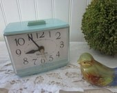 vintage Teal Westclox Softee Alarm Clock for your Shabby Cottage Retro Boudoir Nightstand. Robins Egg Blue Green prop