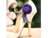 Purple & Green Feathers Shoe Clips. Statement Fashion, Handmade Couture Bride Bridesmaids. Tan Teal Orange Tangerine, Formal Party Shoe Clip