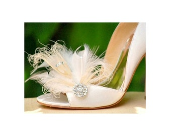 Wedding Shoe Clips Ivory Peacock & Rhinestone. Bride Bridal Bridesmaid Couture High Fashion, Wedding Dazzling Diva Glam Bling Edgy Burlesque