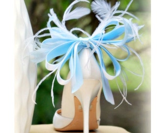 Shoe Clips Blue White Anemone Plumes Bow. French Christian Louboutin Inspired, Sophisticated Statement, Bleu Spring Wedding Bold Extravagant